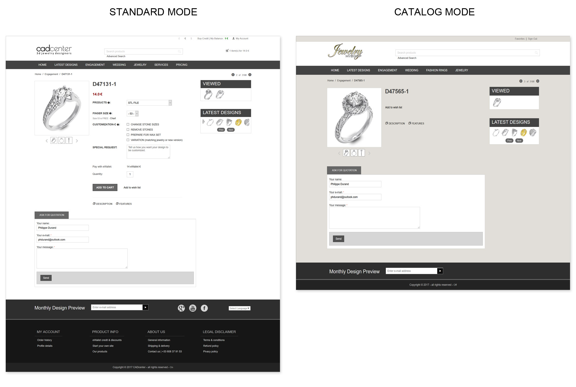 Catalog Mode - CADcenter is your 3D Jewelry & 3D Printing